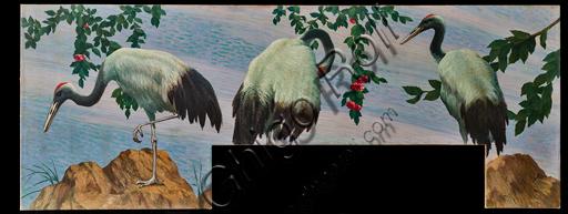 "Giovan Battista Crema (1883 -1964): ""Storks"", oil painting on canvas, (cm. 280 × 115)."