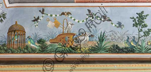Palermo, The Royal Palace or Palazzo dei Normanni (Palace of the Normans), The Royal Apartment, the Birds Room, the frescoed vault: detail with swans and other birds.
