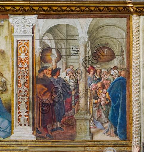 """Cremona, Duomo (Cattedrale di S. Maria Assunta), interno,   navata mediana, quarto arcone: """"Circoncisione di Gesù dei Pastori"""", affresco di Boccaccio Boccaccino, 1514-15."""