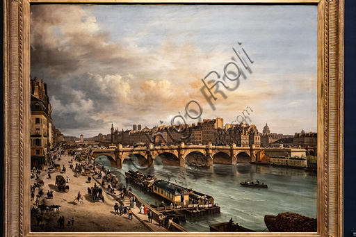 """Giuseppe Canella: """"View of the Cité and the Pont Neuf from the Quai du Louvre"""", oil painting, 1832."""