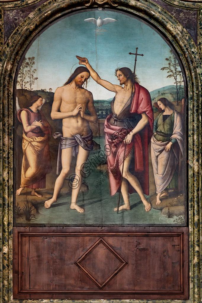 Città della Pieve, Cathedral of St. Gervase and Protasio: Baptism of Christ, 1510, by Pietro di Cristoforo Vannucci, known as Perugino.