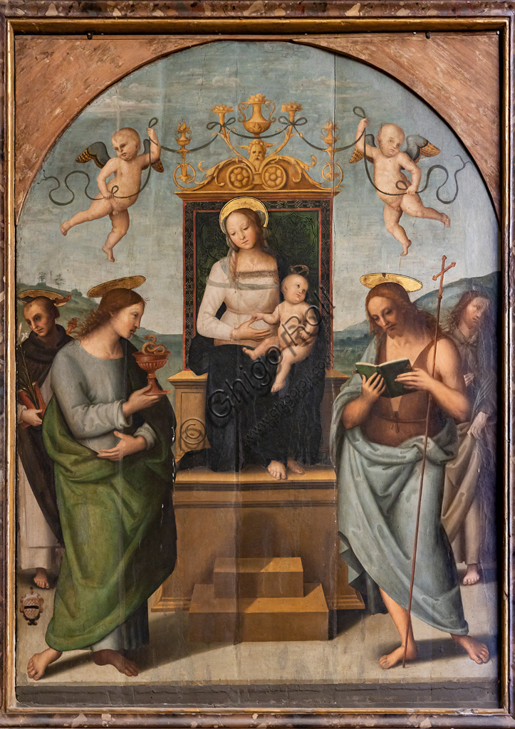 Città della Pieve, Cathedral of St. Gervase and Protasio: Enthroned Virgin among St. Gervase, Protasio, Paul and Peter,  1510, by Pietro di Cristoforo Vannucci, known as Perugino.