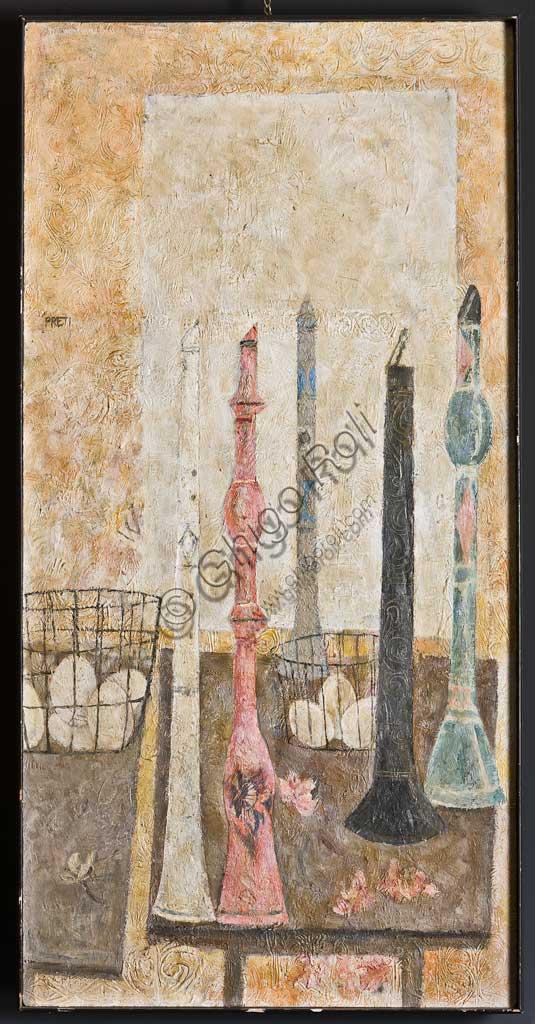 """Assicoop - Unipol Collection: Giorgio Preti, """"Clarinets""""; panel fresco."""