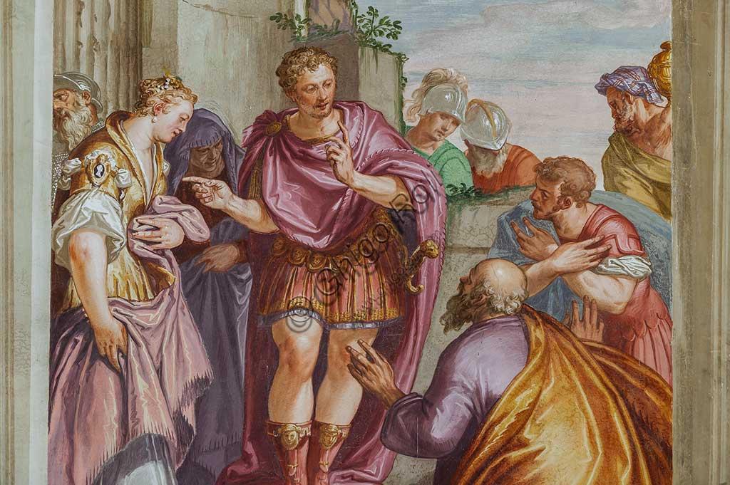 """Fanzolo, Villa Emo, the main hall : """"Scipio's Clemency"""". Frescoes by Giovanni Battista Zelotti, about 1565. Detail."""