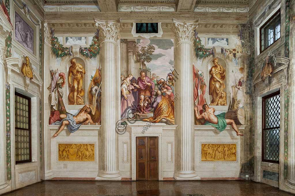 """Fanzolo, Villa Emo, the main hall : """"Scipio's Clemency"""". Frescoes by Giovanni Battista Zelotti, about 1565."""