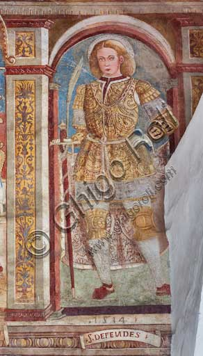 Clusone, Church of St. Defendens, frescoes under the porch lunette: St. Defendens.