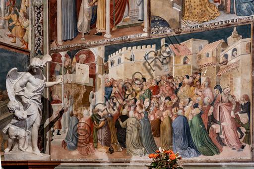 Orvieto, Basilica Cattedrale di Santa Maria Assunta (o Duomo), interno, la Cappella del Corporale: ciclo di affreschi di Ugolino di Prete Ilario e aiuti. (1357-64). Particolare. Coerentemente alla destinazione della Cappella, il programma iconografico del ciclo ha ad oggetto non solo gli episodi della Messa di Bolsena, ma in generale il mistero della Transustanziazione. Infatti, oltre al miracolo di Bolsena, sono raffigurati diversi altri prodigi - per lo più si tratta di episodi tratti da exempla messi a punto con scopo didascalico - che dimostrerebbero la reale presenza del corpo di Cristo nella Particola consacrata. Completano la decorazione scene della Passione di Cristo e in particolare la raffigurazione dell'Ultima Cena, appunto l'istituzione dell'eucaristia.