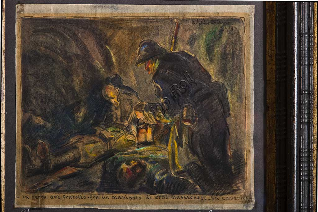 "Assicoop - Unipol Collection: Arcangelo Salvarani (1882 - 1953), ""Looking for the Brother in a Handful of Heroes Massacred in a Cave""; pastel on a small cardboard."