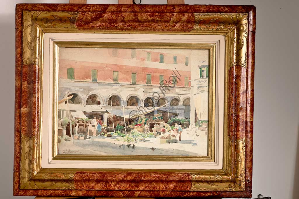 "Assicoop - Unipol Collection: Arcangelo Salvarani (1882 - 1953), ""Fruit Market"", watercolour, cm 29 X 39."