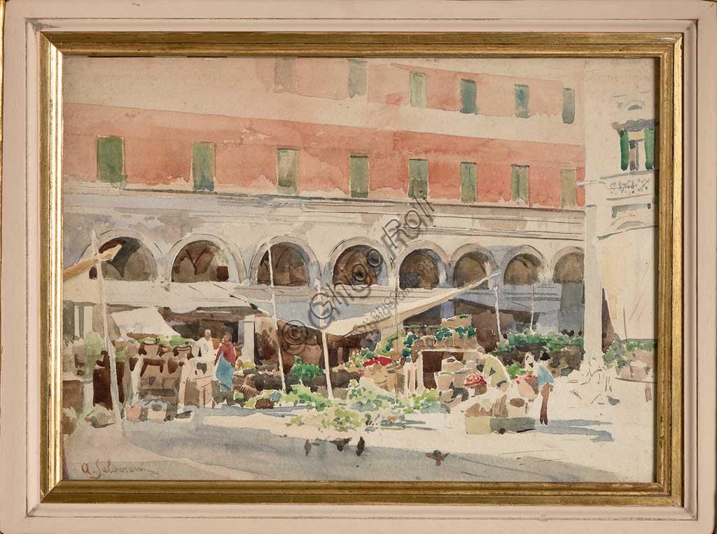 """Collezione Assicoop Unipol: Arcangelo Salvarani (1882 - 1953), """"""""Mercato della Frutta""""; acquerello, cm. 29 x 39."""