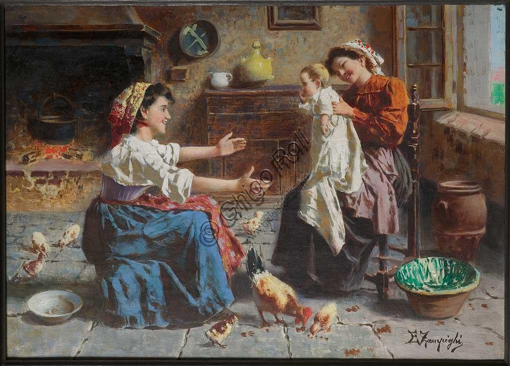 """Collezione Assicoop - Unipol: Incontro con due donne e un neonato"""", di Eugenio Zampighi (1859 - 1944), olio su tela."""