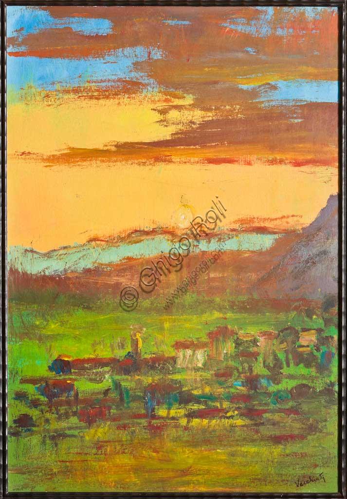 """Assicoop - Unipol Collection: Pompeo Vecchiati, """"Landscape""""; oil painting."""
