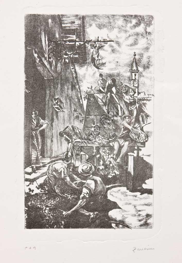 """Collezione Assicoop Unipol: Remo Zanerini; """"Vendemmia""""; Litografia."""