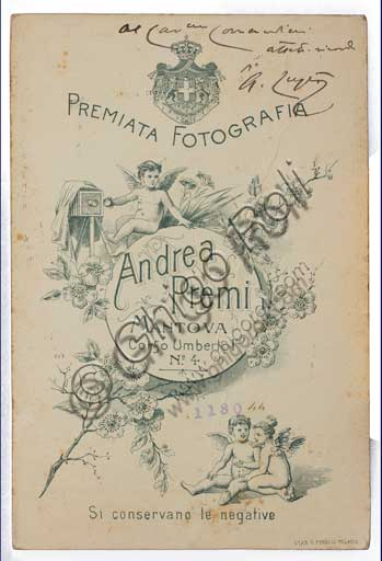 Assicoop - Unipol Collection: back of the postcard, portraying the painter Albano Lugli (1834 - 1914).