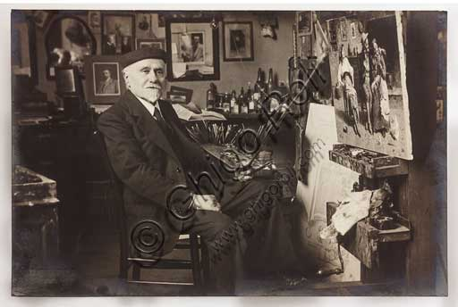 Assicoop - Unipol Collection: photo portraying the painter Eugenio Zampighi (1859 - 1944).