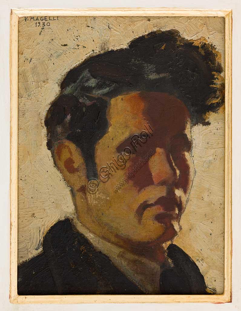 """Assicoop - Unipol Collection:  Vittorio Magelli  (1911-1988);  """"Self Portrai""""; oil painting, 31 x 24 cm."""