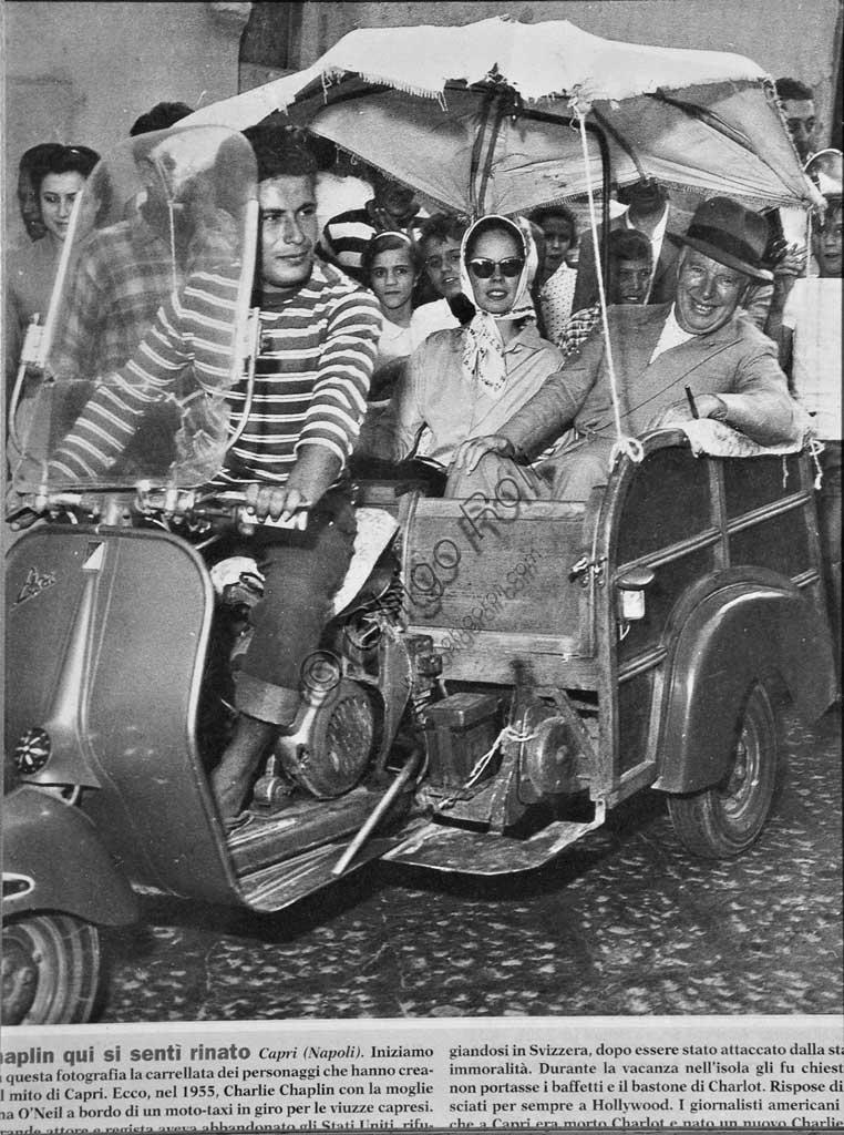 Collezione Sergio Sciarpetti: foto d'epoca con Charlie Chaplin e la moglie Oona O'Neil sull'Ape Calessino a Capri.