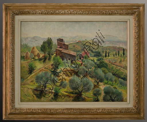 "Mario Vellani Marchi (1895 - 1979): ""Montepulciano Hills"" (oil painting on canvas, 70 x 87 cm)."