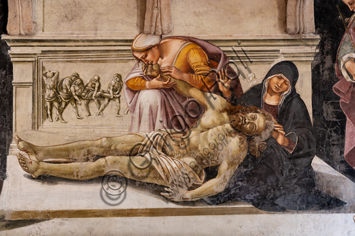"""Orvieto,  Basilica Cathedral of Santa Maria Assunta (or Duomo), the interior, Chapel Nova or Chapel of St. Brizio, Chapel of the Holy Bodies: """"Lamentation of the Dead Christ"""" between the two saints of Orvieto (S. Parenzo on the right and S. Faustino on the left), by Luca Signorelli, 1500 - 1504. Detail."""