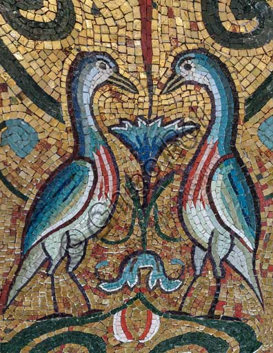 "Palermo, The Royal Palace or Palazzo dei Normanni (Palace of the Normans), The Palatine Chapel (Basilica), mosaic below an archof a llancet window: ""A couple of birds"", XII century."