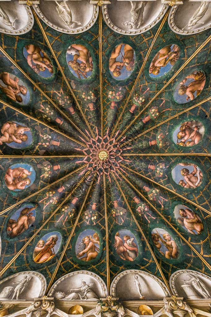 Parma, Former Monastery of St. Paul, Chamber of the Abbess or of St Paul or of Giovanna da Piacenza, the vault: frescoes on the theme of Diana by Antonio Allegri, known as il Correggio (1518-9).