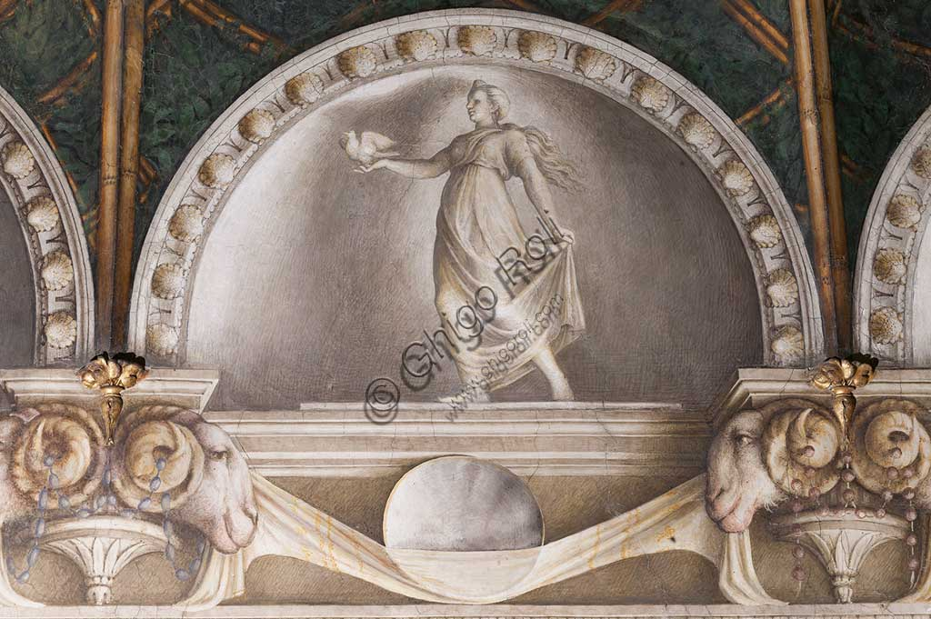 "Parma, Former Monastery of St. Paul, Chamber of the Abbess or of St Paul or of Giovanna da Piacenza, the vault: frescoes on the theme of Diana by Antonio Allegri, known as il Correggio (1518-9). Detail with lunettes with monochrome fresco with statue: "" Diana Lucifera""."