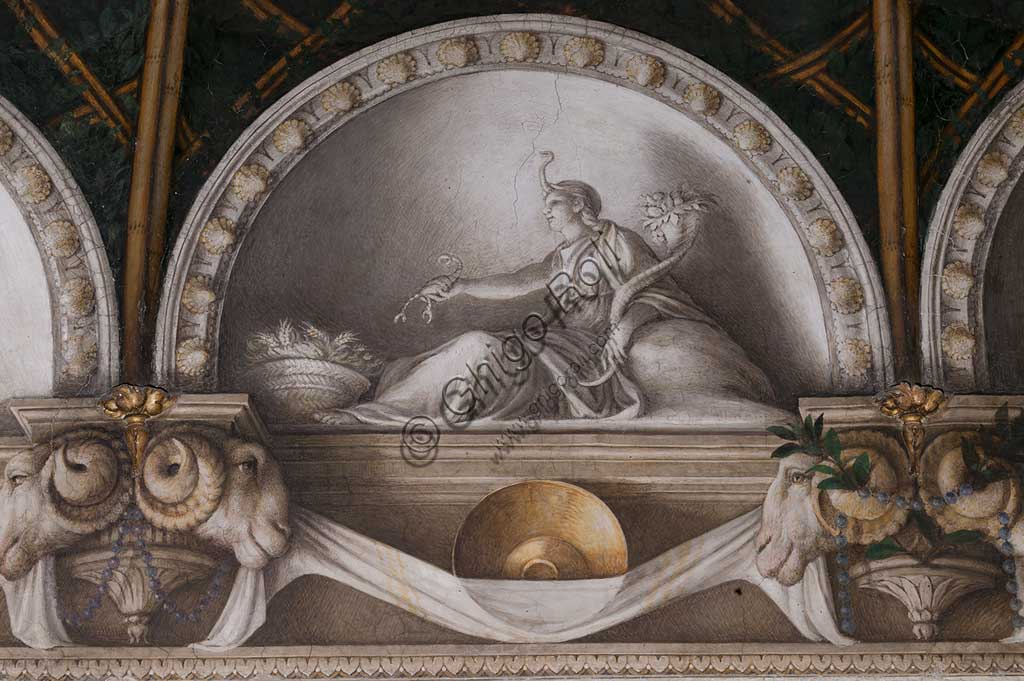 "Parma, Former Monastery of St. Paul, Chamber of the Abbess or of St Paul or of Giovanna da Piacenza, the vault: frescoes on the theme of Diana by Antonio Allegri, known as il Correggio (1518-9). Detail with lunettes with monochrome fresco with statue: "" Ceres"". (?)"