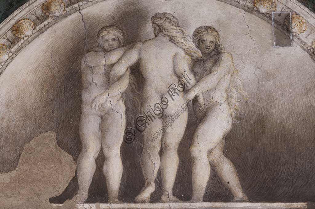 "Parma, Former Monastery of St. Paul, Chamber of the Abbess or of St Paul or of Giovanna da Piacenza, the vault: frescoes on the theme of Diana by Antonio Allegri, known as il Correggio (1518-9). Detail with lunettes with monochrome fresco with statue: ""The Three Graces""."