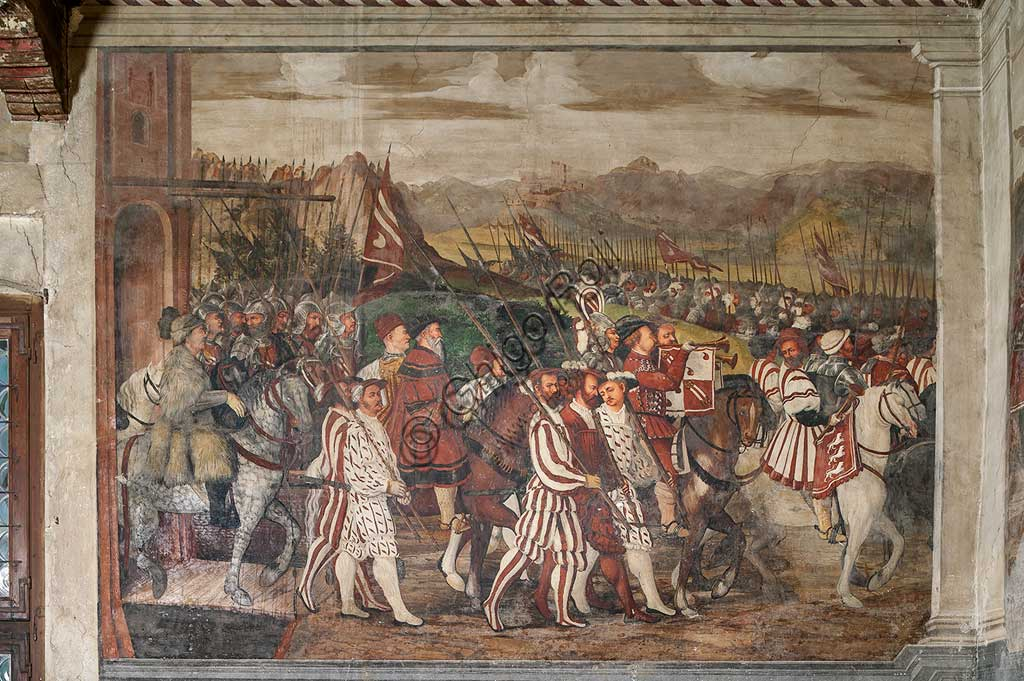Cavernago, Malpaga Castle or Colleoni Castle, Hall of Honour: cycle of frescoes depicting the visit of Christian I of Denmark to Bartolomeo Colleoni, by Marcello Fogolino, (some historians attribute these frescoes to Romanino), 1474. Detail of the procession.