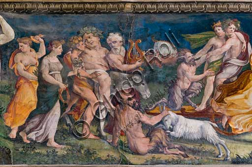 Rome, Villa Farnesina, The Hall of Perspectives: the ample frieze with mythological scenes.Frescoes by Baldassarre Peruzzi and workshop (1517-8). Detail with the Thiasus of Dionysus.Dionysus, embracing Ariadne, moves in a cart drawn by panthers. They are followed by Silenus, drunk and riding a donkey. Other Sileni or satyrs and musicians are part of the procession.