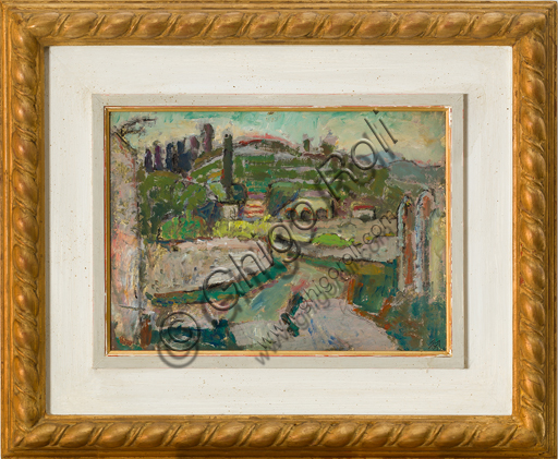 "Mario Vellani Marchi (1895 - 1979): ""Costermano del Gardai""; oil painting on board, cm 22 x 30."