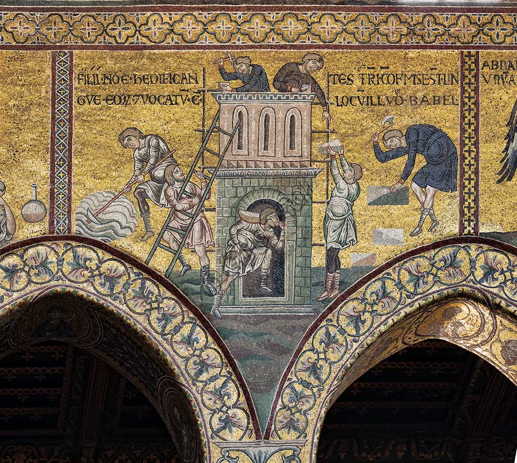 "Monreale, Duomo: ""The construction of the Tower of Babel"", Cycle of the Old Testament - The Great Flood, Byzantine mosaics, XII - XIII century.Latin inscription: ""FILII NOE HEDIFICANTES TURRIM CONFUSI SUNT LINGUAE EORUM ET VOCATUM EST LOCUM ILLUD BABEL""."