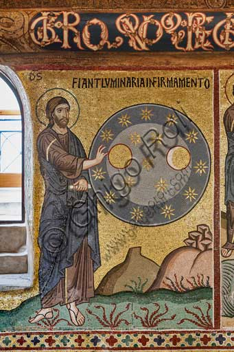 "Palermo, The Royal Palace or Palazzo dei Normanni (Palace of the Normans), The Palatine Chapel (Basilica), cycle of mosaics on the Old Testament, cycle of the Creation: ""The Creation of Stars"", XII century."