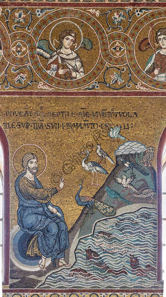 "Monreale, Duomo: ""Creation of fish and birds"", Old Testament Cycle - Creation, byzantine mosaic, XII - XIII sec.Latin inscription:""PRODUCANT AQUA REPTILE ANIMÆ VIVENTIS ET VOLATILE SUPER TERRAM SUB FIRMAMENTO CÆLI""."