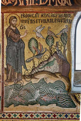 "Palermo, The Royal Palace or Palazzo dei Normanni (Palace of the Normans), The Palatine Chapel (Basilica), cycle of mosaics on the Old Testament, cycle of the Creation: ""The Creation of Fish and Birds"", XII century."