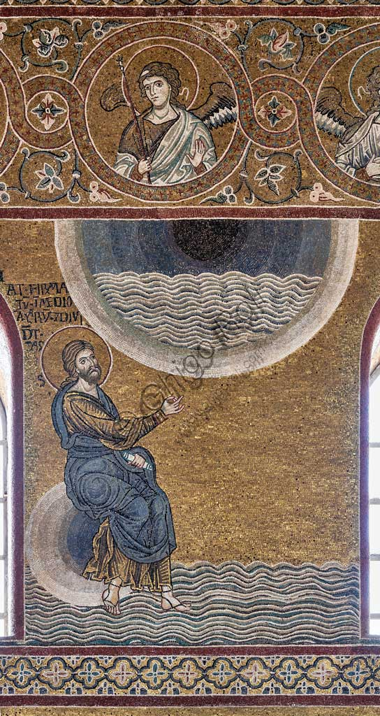 "Monreale, Duomo: ""Creation of the Sky and the Sea"", Old Testament Cycle - Creation, byzantine moaic, XII - XIII sec.Latin inscription:""FECIT FIRMAMENTUM IN MEDIO AQUARUM ET DIVIDAT AQUAS AB AQUIS""."