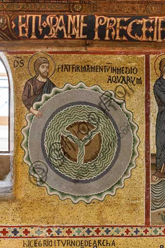 "Palermo, The Royal Palace or Palazzo dei Normanni (Palace of the Normans), The Palatine Chapel (Basilica), cycle of mosaics on the Old Testament, cycle of the Creation: ""The Creation of the Sky and the Earth"", XII century."