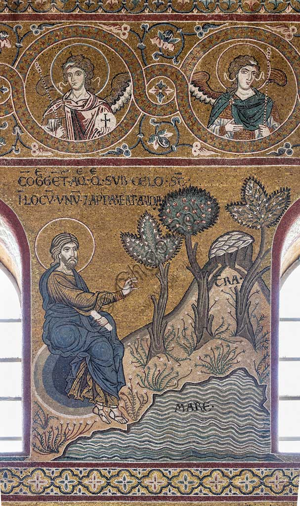 "Monreale, Duomo: ""Creation of the mainland from the sea"", Cycle of the Old Testament - The Creation, byzantine mosaic, XII - XIII sec.Latin inscription: ""CONGREGENTUR AQUÆ QUÆ SUB CÆLO SUNT IN LOCUM UNUM ET APPAREAT ARIDA""."