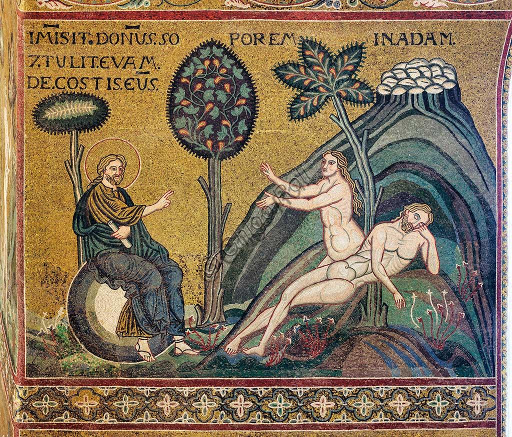 "Monreale, Duomo: ""Creation of Eve"", byzantine mosaic, XII - XIII centuries, on the counterfacade.Latin inscription: ""Immisit Dominus soporem in Adam et tulit Evam de costis eius""."