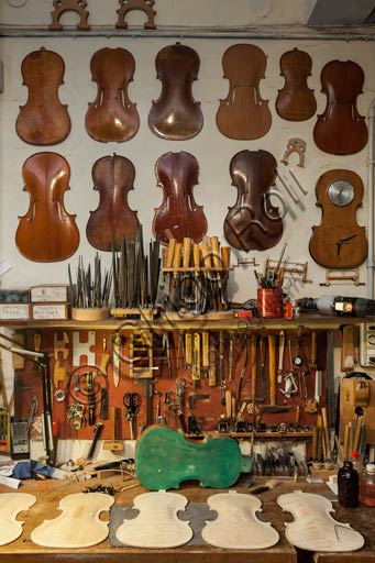 Cremona, Stefano Conia's  luthier workshop: hand tools and some soundboard models.