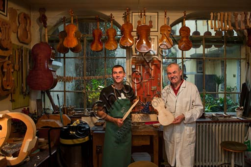 Cremona, Stefano Conia's  luthier workshop: Stefano Conia the young and Stefano Conia the old.