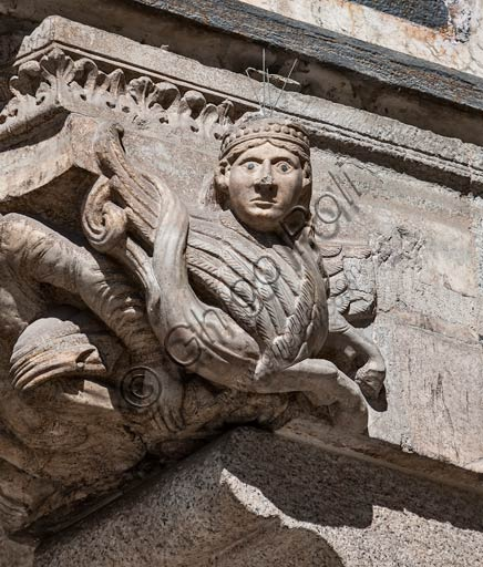 Cremona, Duomo (Cathedral),façade, the main Portal: frieze of a corbel.