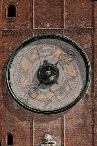 Cremona, the Torrazzo (Bell Tower of the Duomo - Cathedral which was finished in 1267): the big astronomical clock, with the astrological signs, was realized in 1583.