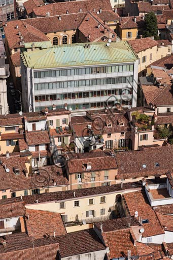 Cremona: view of the city centre with old and modern buildings.