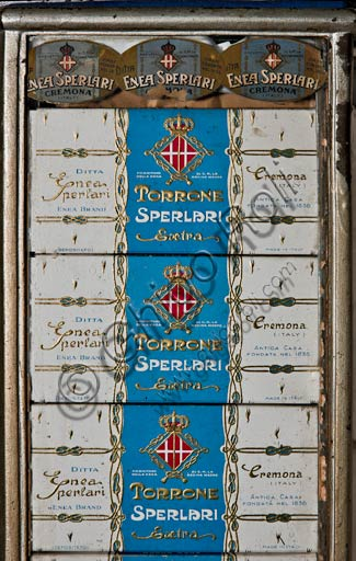 Cremona, Solferino Street, Sperlari Shop: sale of nougat, pickled fruit and typical products from 1836: labels and nougat confections.