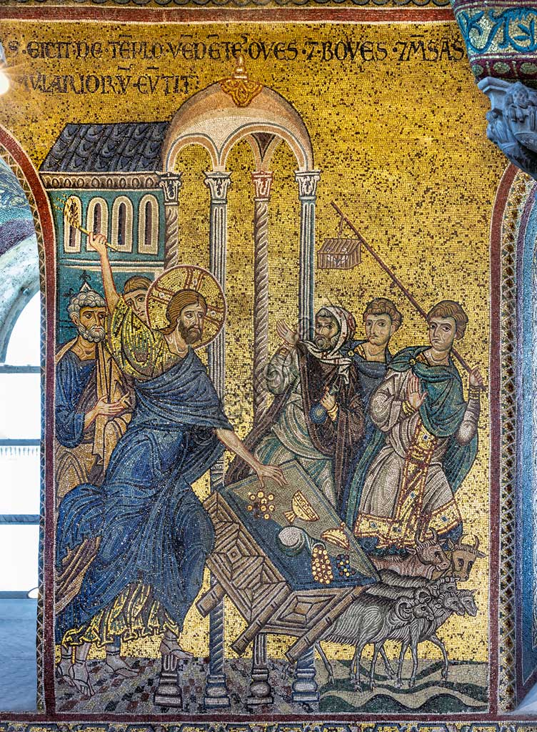 "Monreale, Duomo: ""Christ driving the Merchants from the Temple"", Byzantine mosaic, Episodes from the life of Christ, XII - XIII centuries. Latin inscription:""IESUS EJECIT DE TEMPLO OVES ET BOVES ET MENSAS NUMMULARIORUM EVERTIT"" ."