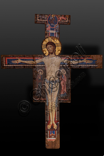 """Spoleto, the Duomo (Cathedral of S. Maria Assunta, The Chapel of the Crucifixed: """"Christ Crucifixed"""", by Alberto Sotio, 1187, tempera on parchment applied on panel."""