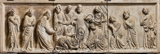 , Genova, the Diocesan Museum: the funeral monument of Cardinal Luca Fieschi, by the worskhop of Giovanni di Balduccio from Pisa, about 1336. Detail with Christ and the Apostles.