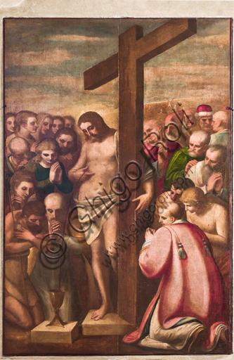 """Genova, Duomo (Cattedrale di S. Lorenzo), sacrestia, cappella: """"Cristo eucaristico adorato da Santi"""", di Luca Cambiaso (1580 circa)."""