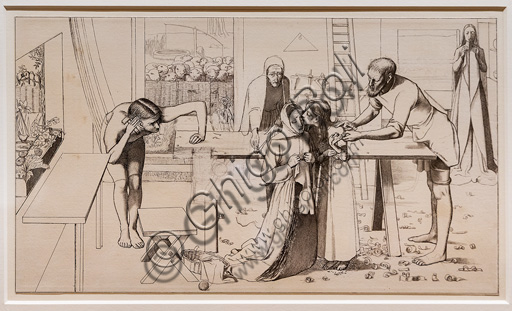 """Study for """"Christ in the house of his Parents"""",  (1849)  by John Everett Millais (1829 - 96); graphite on paper."""